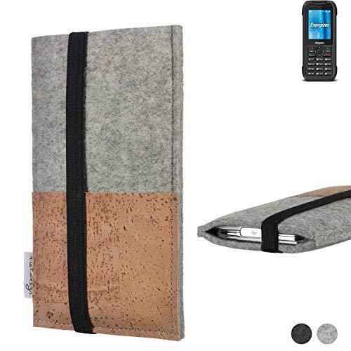 flat.design Handy Hülle Sintra für Energizer H240S Handytasche Filz Tasche Schutz Kartenfach Case Kork