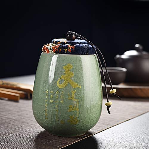 FFDGHB Versiegelte Dosen Lagertanks Teedosen Versiegelte Keramikdosen Celadon-VorratsgläSer Mini-Dosen Bonbon Geladener Tee Kaffee 7,7 * 11 cm
