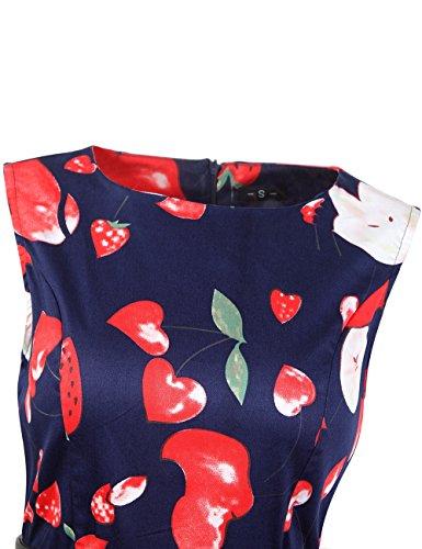 iPretty elegant Sommerkleid Damen Knielang Ärmellos Faltenrock Festliche Kleid Partykleid Rockabilly Retro Vintage Kleid Abendkleider Cocktailkleid Schwarz B