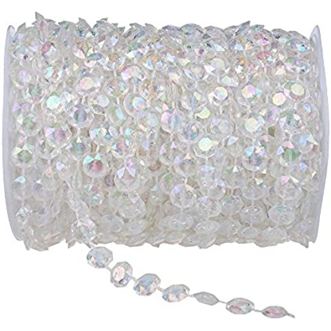eBoTrade 99 ft Crystal Like Beads by the Roll Wedding Christmas Home Decorations Light Chandeliers Accessories by eBoTrade Dirct