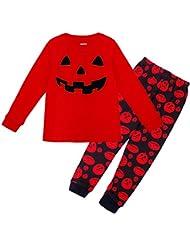 FEESHOW Conjuntos de Camiseta Manga Larga y Pantalones Largos de Halloween para Niño Niña Unisex Infantil