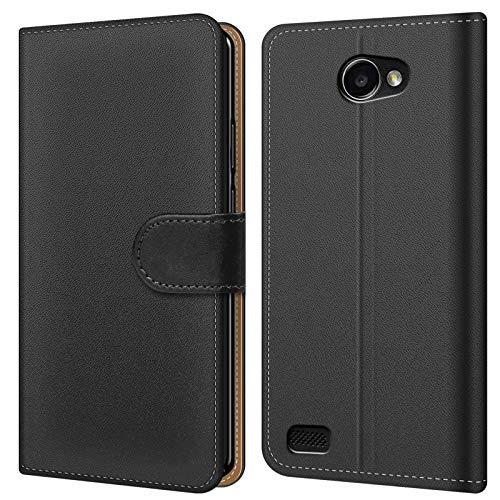 Conie BW14867 Basic Wallet Kompatibel mit LG Bello 2, Booklet PU Leder Hülle Tasche mit Kartenfächer & Aufstellfunktion für Bello 2 Case Schwarz