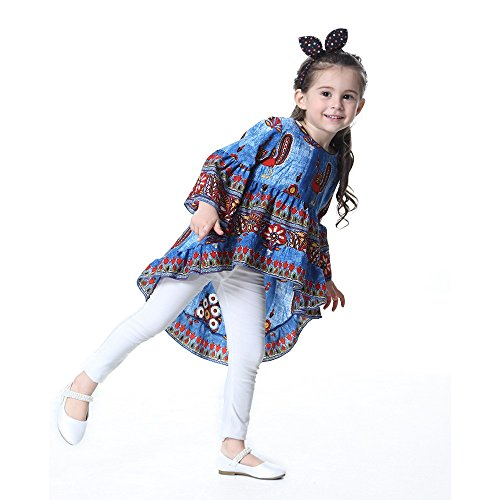 Baby Mädchen Kleidung Set JYJM lässig Mädchen Sommer Mode Mädchen Rock Bluse Mädchen fau Druck Lotus Ärmel Saum Prinzessin Kleid Jacke Anzug Tanzrock Leistung Kleidung (Größe:6 Jahre, Dunkelblau) (Robe Bett-jacke)