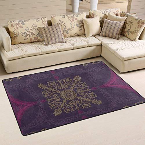 Rghkjlp Purple Medallion Abstract Flower Area Rug Rugs Non-Slip Indoor Outdoor Floor Mat Doormats for Home Decor Size:16 X 24(40x60cm) - Wetter-medallion