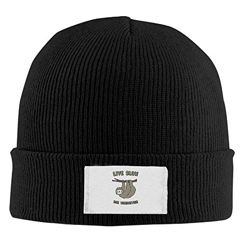 Osmykqe Cute Sloth Live Slow Die Whenever Unisex Oversized Baggy Caps Wool Ski Warm Hat ABCDE06227 Oversized Wool Cap