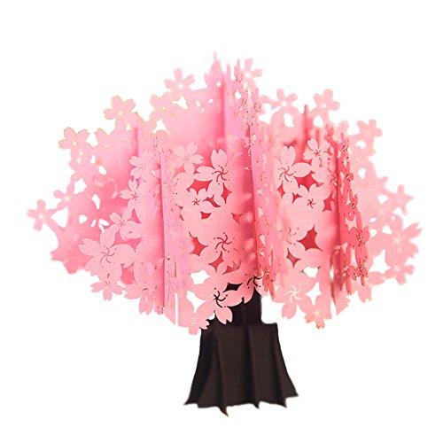 Le yi Wang You 3D-Pop-Up-Grußkarte, romantisch, Kirschblütenbaum multi