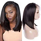 Maxine Brazilian Virgin Human Hair Lace Front Wigs Glueless Short Bob Human Hair Wigs Wavy With Baby Hair For Black Women 12inch Short Bob Lace Wigs with Adjustable Straps