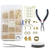 TOAOB 750 piezas kit de fabricación de joyas incluye alambre de acero tono dorado hallazgos perlas de vidrio y herramientas de reparación