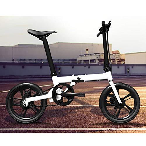 """Unisexo Bicicleta electrica Aleación de aluminio Bicicleta hibrida Pedal de ruedas de 16 \""""asistido Bicicleta plegable Batería de ion de litio 36V con frenos de disco (batería de litio extraíble),White"""