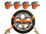 INDUSTRIE PLANET 4 x Spanngurte Autotransport 2000 daN / 2,9m / 35 mm orange Radsicherung Reifengurt Zurrgurte Auto Transport PKW Radsicherungsgurt DIN EN 12195-2