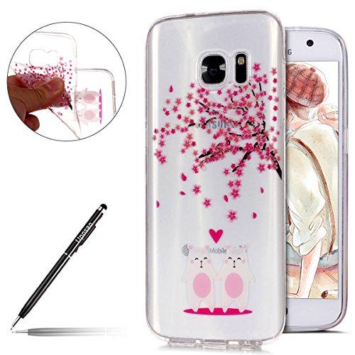Uposao Hülle Samsung Galaxy S7 Silikon Handyhüllen Bunt Blumen Muster Transparent TPU Silikon Handyhülle Durchsichtige Schutzhülle TPU Weich Tasche,Kirsche Blumen Baum