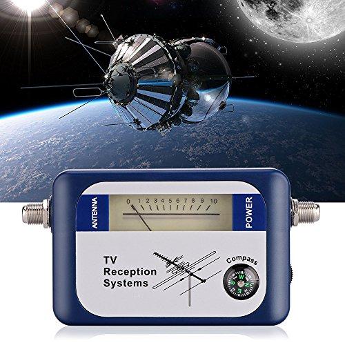 Vingtank Misuratore di segnale, multimetro digitale DVB-T per segnali satellitari con bussola, misuratore di segnale antenne TV, sistemi di ricezione TV, blu