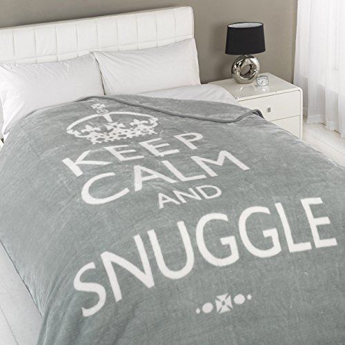Dreamscene Keep Calm And Snuggle Mink Faux Fur Throw, Silver, 150 x 200 Cm