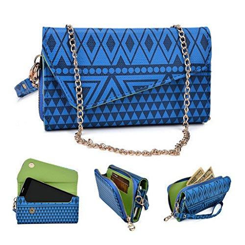 Kroo Tribal Urban Style Housse cas Wall Let Embrayage S'adapte Sony Xperia E4 White with Mint Blue bleu roi