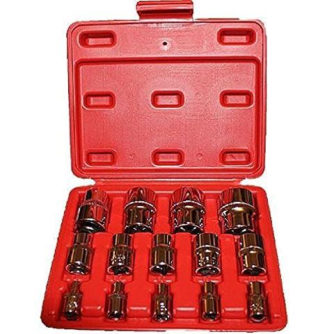 Douilles Torx E 14pièces dans un coffret de rangement 1/10,2cm 3/20,3cm 1/5,1cm Star femelle