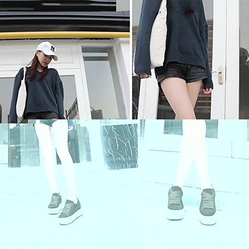 PENGFEI Stivaletti Sport Per Il Tempo Libero Autunno Fondo Spesso Con Tacco Da Donna 3 Colori ( Colore : Nero , dimensioni : EU37/UK5/L:235mm ) Verde