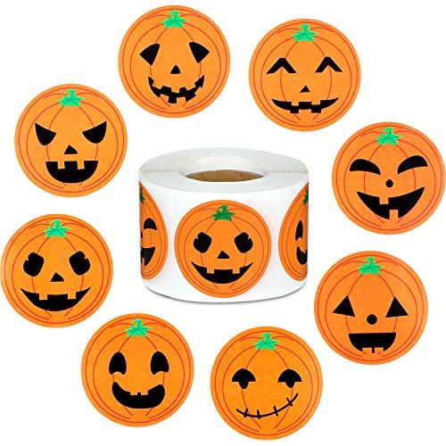 Outus 500 Pezzi Adesivi Zucca Adesivi Rotolo di Halloween Adesivi Faccia Cerchio Rotondo per Decorazione Festa di Halloween
