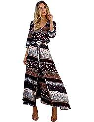 LILICAT Mujeres Verano Vestido largo Maxi Túnica Bohemia Floral Fiesta Playa Sundress (Marrón, XXL)