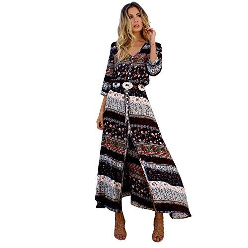 LILICAT Les femmes à la mode la taille du vent national était mince été Bohème Tunique Floral Party Beach Long robe Maxi robe M-3XL (Brown, XL)