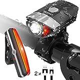 KKUP2U Fahrradlicht LED Set USB Wiederaufladbare Fahrradbeleuchtung 400 Lumen Fahrradlampe mit 10 Modus einstellbarer Helligkeit Frontlicht und Rücklicht IP65 Wasserdicht