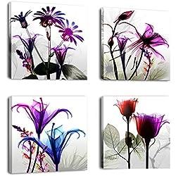 4 panneaux énorme moderne giclée Impressions illustrations Multi Fleurs photos Photo peintures sur toile de lin Art mural pour murs Home Decor tendue et encadrée prêt à accrocher, 30 x 30cm x 4pcs