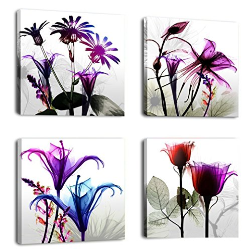 Cunfun Art – 4 pannelli Huge Modern Giclee Prints Artwork multi fiori dipinti immagini foto stampa su tela Wall Art for home Walls Decor allungato e incorniciato pronto da appendere, Multi-color, 30cm x 30cm x 4pcs