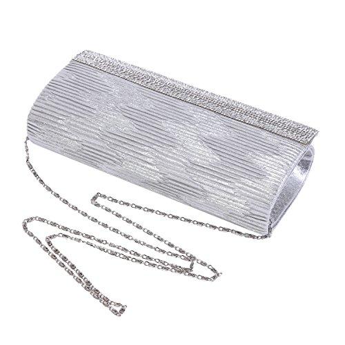 Damara® Damen Falten Hell Abendtasche Mit Künstliche Diamanten Grau