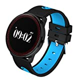 "Fitness Activity Tracker Wearable Smartwatch Bluetooth Sports Step Counter Wristband 0.96"" Pedometer Sleep Monitor HR Monitor Weather Forecast Reminder for iOS Android Phone Gift (Blue)"