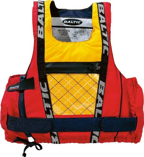 Baltic Dinghy Pro Side Giubbotto salvagente con Zip, Rosso/Giallo, Medium-Large, 70-80 Kg