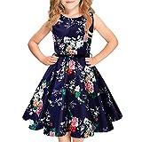 Idgreatim 1950er Jahre Vintage A-Linie Kleid Hepburn Rockabilly Blumendruck Swing Party Kleider Gürtel