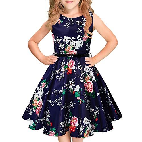 Idgreatim Mädchen Vintage Kleid Floral Aermellose A-Line mit Gürtel Party Retro Kinder Sommerkleid 6-12 Y A-line Vintage Mantel