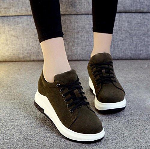 Ms. scarpe in pizzo focaccina fondo pesante scarpe rotonda scarpe casual scarpe ascensore Autunno Ms. Green