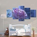 Siluyu Adesivo Murale Modulare,Decorazione Domestica HD Tela Soggiorno Moderno 5 Pannelli Fiori Rosa Rossa Stampato Pittura Murale Poster Modulare Valentino Regalo Taglia Piccola