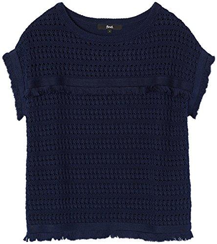 FIND Maglia Crochet Donna a Mezza Manica Blu (Navy)