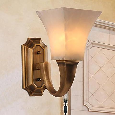 SAEJJ-Lámparas de cobre europeas, lámparas de noche, lámparas de pared, luces del porche dormitorio living comedor pasillo, lámpara de pared de cobre