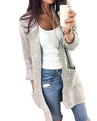Damen Cardigan Strickmantel Und Lange Abschnitte Sweater Strickpullover Knit Gestrickte Pullover Outwear Langarm Grau L