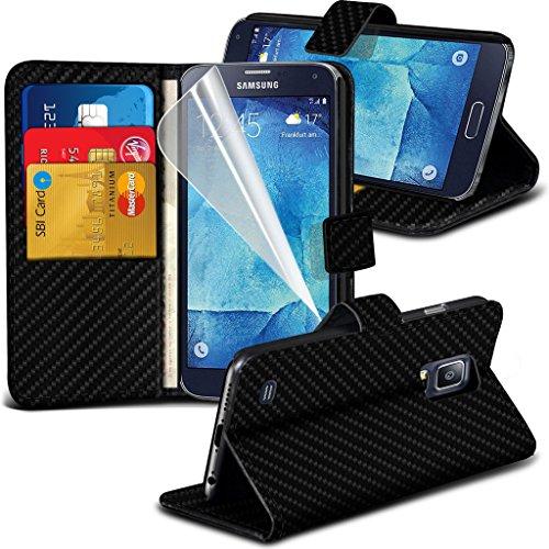 Samsung Galaxy S5 Neo hülle Tasche (Grün + Kopfhörer) Slim-Fit-Abdeckung für Samsung-Galaxie-S5 Neo-hülle Tasche Haltbarer S Linie Wellen-Gel-Kasten-Haut-Abdeckung + mit Aluminium Earbud Kopfhörer, Po Black Carbon