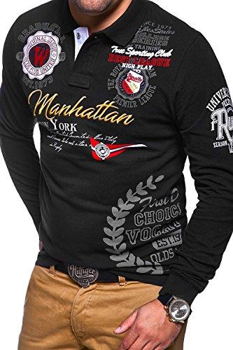 MT Styles Langarm Poloshirt MANHATTAN Polo MP-453 Schwarz