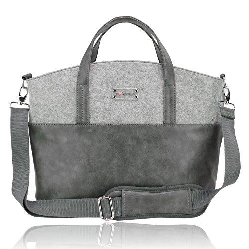 Herzmutter Multifunktionale, geräumige Wickeltasche, große, moderne Kinderwagentasche inklusive Kinderwagenbefestigung, Dunkelgrau-Hellgrau-Schwarz-Braun (4000_4300) (Grau)
