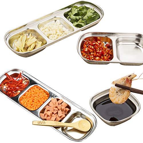 4 Stück Dip-Saucenschalen-Set, Edelstahl, Gewürzschalen, Sub-Grid Gewürzschalen, Vorspeisenschalen Snacks Schüssel für Zuhause, Küche, Grill, Restaurant, Sub-grill