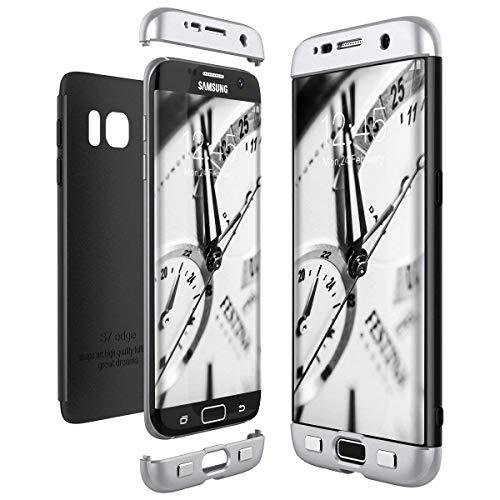 Lucky phone Compatibile Custodia Samsung Galaxy S7 Edge,3 in 1 Cover Skin Ultra Sottile 360 Gradi Full Body Bumper Ibrido Case,PC Hard Shell Copertura Protettiva Opaco Cover,-Nero + Argento