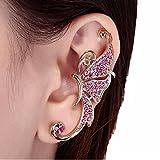 HUIHUI Ohrringe, Ohrstecker Ohrschmuck Crystal Schmetterlingsflügel Ohr Clip Clamp Ohrring Silber Ohrstecker für Mädchen Damen Kinder Frauen Allergiefrei (Weiß)