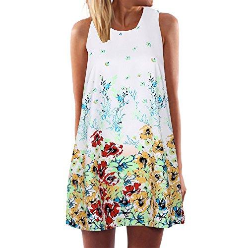 Mit Black Kostüm Angel Tutu - kolila Damen Boho Kleid Übergroßen 5XL/EU46 Sommer Ärmellos Blumendruck A-Linie Mini Camisole Kleider
