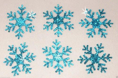 3PACK = 18Glitter 2,5cm Schneeflocke zum Aufbügeln blau -