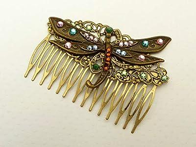 Peigne large avec libellule et strass coloré
