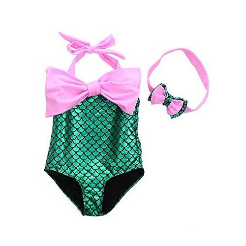 Die kleine Meerjungfrau Bikini Bademode Kinder Weihnachten Maskerade Festival/Urlaub Halloween Kostüme lila blau rosa Farbe Block One, Pink, 130