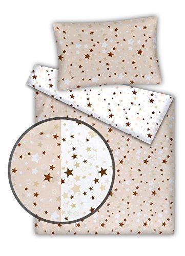 Kinderbettwäsche Stars 2-tlg. 100% Baumwolle 40x60 + 100x135 cm mit Reißverschluss (Wende-Sterne beige)