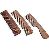Set di 3Pure neem Wood pettini per forte e lucido Hair | neem pettine a denti larghi pettine a denti neem | neem pettine a denti larghi con manico per capelli e cuoio capelluto salute | ultra confezione risparmio