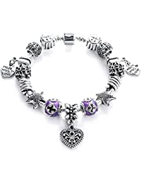 Lavishya Crystal Elements Delicate Floral And Love Heart Inspired Pandora Style Stunning Antique Bracelet For...