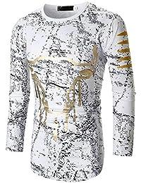 ALIKEEY Los Hombres De Otoño De La Personalidad Casual Slim Long Sleeve Printed T Shirt Top Blouse Unicornio Uniforme Vaquera…
